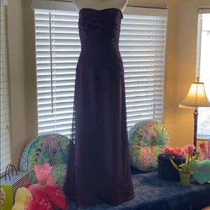 Purple violet, ruched bodice, strapless gown